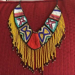 Beaded statement necklace,Native American, African